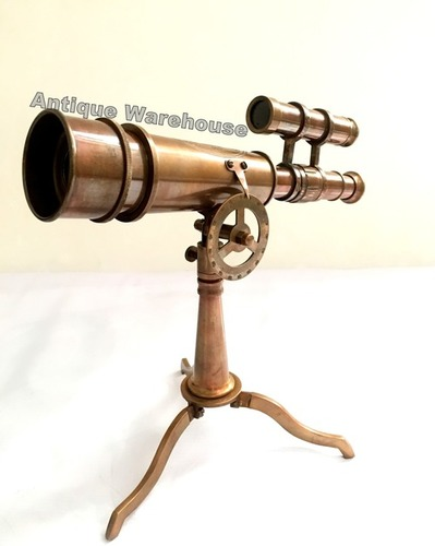 Desk Brass Double Barrel Telescope With Brass Antique Stand