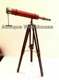 Red Leather Brass Telescope Handmade Tripod