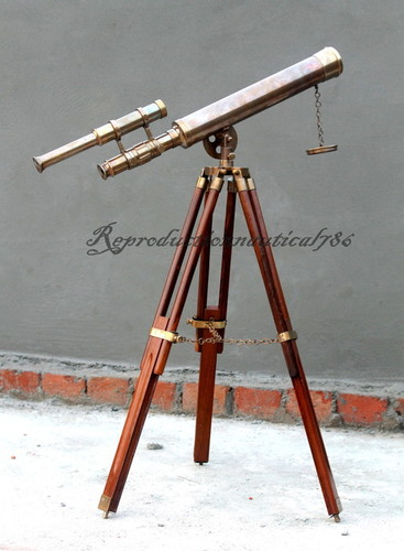 Double Barrel Handmade Brass Antique Telescope With Tripod