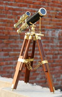 Black Leather Brass marine Ship Telescope With Stand