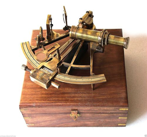 Solid Brass Sextant With Wooden Box