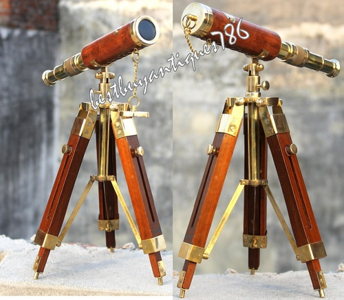 Vintage Orange Leather Brass Telescope With Tripod