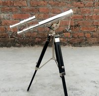 Double Barrel Chrome Telescope Handmade Tripod