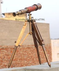 Brass Antique Tripod Handmade Master Spy Glass Telescope