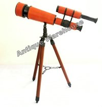 Single Wood Tripod Nautical Spy Glass Telescope