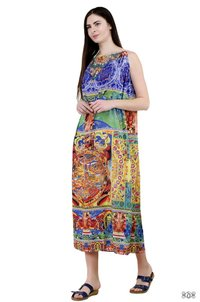 Digital Printed Embellished Long Drawstring Dress