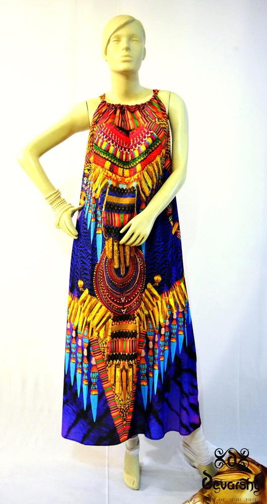 Printed Long Georgette Drawstring Dress