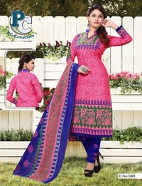Pink and Blue printed dress material Shofiya