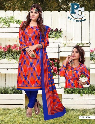 Red & blue printed dress material Shofiya