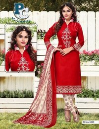 Red printed shofiya dress material