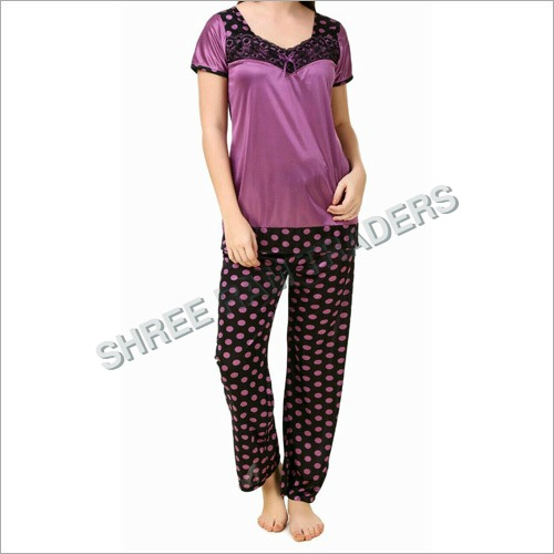 Ladies Satin Printed Night Suit