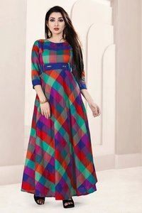 Ladies Check Long Kurtis