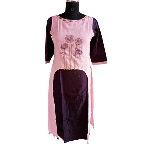 Ladies R Cotton D Layer EMB Kurtis