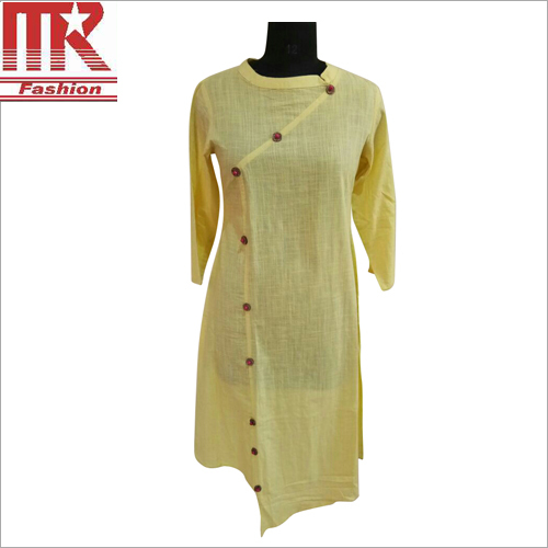 Ladies Cotton Slub Yellow Kurtis