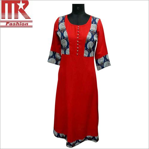 Ladies Rayon Designer Red Kurti