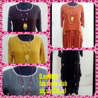 Ladies R Slub D Layer Steel Grey Kurtis
