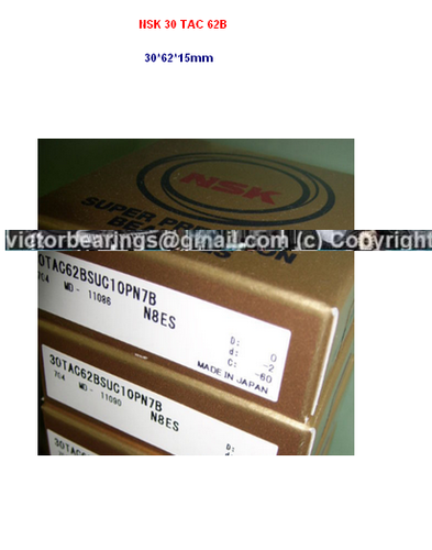 NSK BALL SCREW BEARING 30 TAC 62 B SUC 10 PN 7B