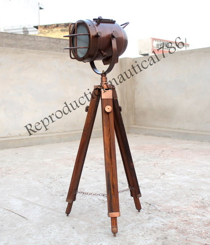 Copper Antique Floor Lamp With Adjustable Tripod