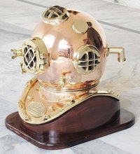 Brass Diving Armour Helmet With Wooden Base