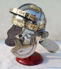 Medieval Roman Centurion Gallic Helmet Italic Besancon Helmet With Wooden Stand