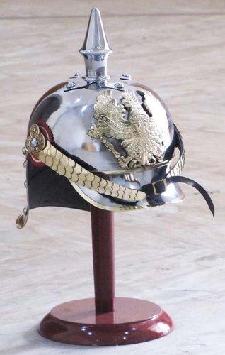 World War I & II Pickelhaube German Steel Helmet Brass Accents Prussian Officer Spike Helmet