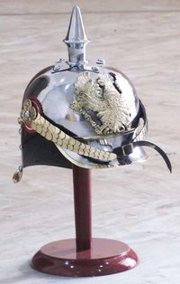 World War I & II Pickelhaube German Steel Helmet Brass Accents Prussian Officer Spike Helmet