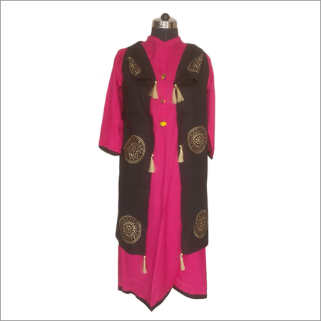 Ladies Gold Print Pink Kurti With Black Long Jacket