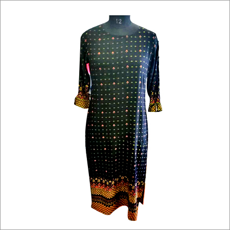 Ladies Gold Print Navy Blue Kurti