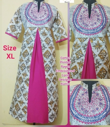 Ladies Cotton Embroidered Kurtis