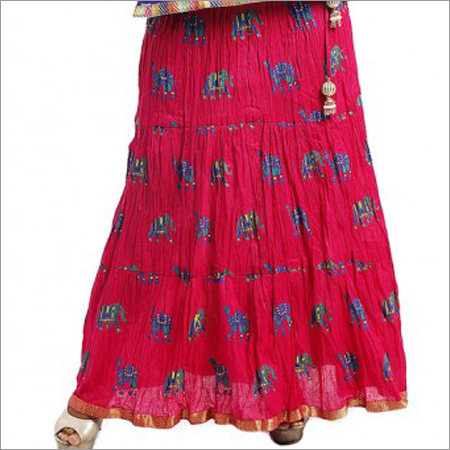 Ladies Pink Printed Flared Skirt