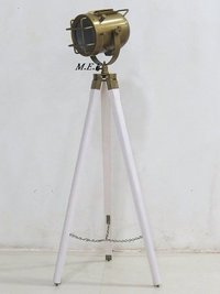 Antique Searchlight Lamp With White Tripod
