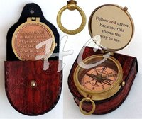 Brass Compass Glass Engraved Working Compass