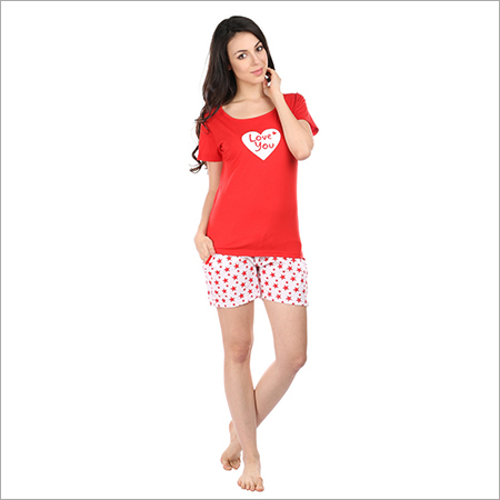 491d12a761 Semantic Women s Cotton PJ Shorts Nightwear Heart Print - Semantic ...
