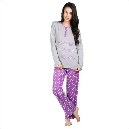 Semantic Women's Cotton PJ Night Suits Sleepwear Star Print