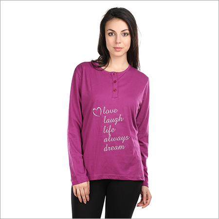 bc12bcad76 Semantic Women s Cotton Casual Full Sleeves Solid Tops Sleepwear Hearts  Print