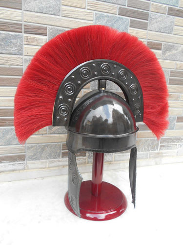 NAUTICAL MART Roman Armour Costume Medieval Ancient HBO Rome Armour Helmet W/Red Plume