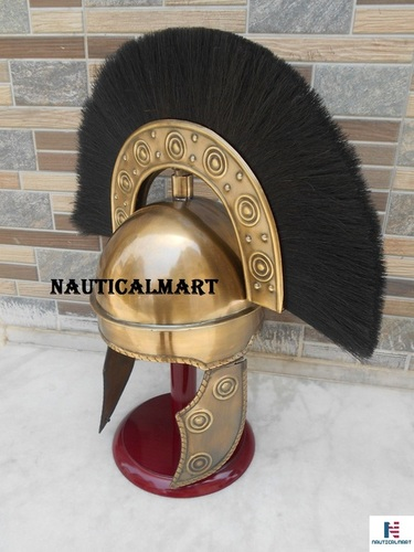 NAUTICAL MART Roman Armour Costume Antique Hbo Rome Helmet W/Black Plume Armour Medieval
