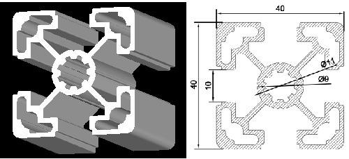 40*40 T slot Aluminium Profile