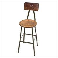Round Wooden Top Bar Chair