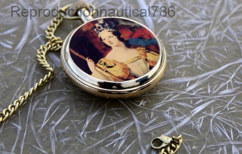 Brass Victoria Pocket Watch With Chain