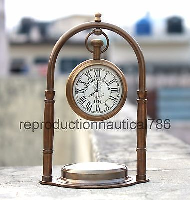 Antique Solid Brass Desk Clock/Watch With Navigation Compass