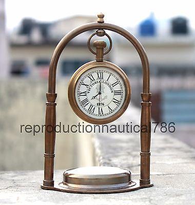 Antique Solid Brass Desk Clock/Watch With Navigation Compass