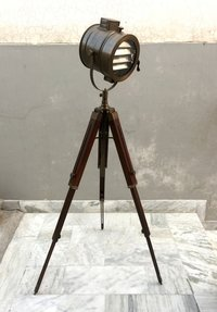 Nautical Grill Floor Lamp With Adjustable Floor Tripod Searchlight
