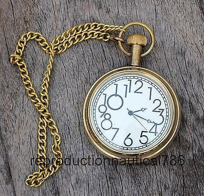 Design Nautical Solid Brass Pocket Watch With Chain Vintage Working Watch Gift