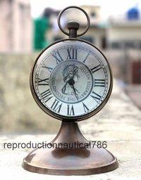 Vintage Antique Brass Working Clock Nautical Desktop QUEEN Clock Collectible