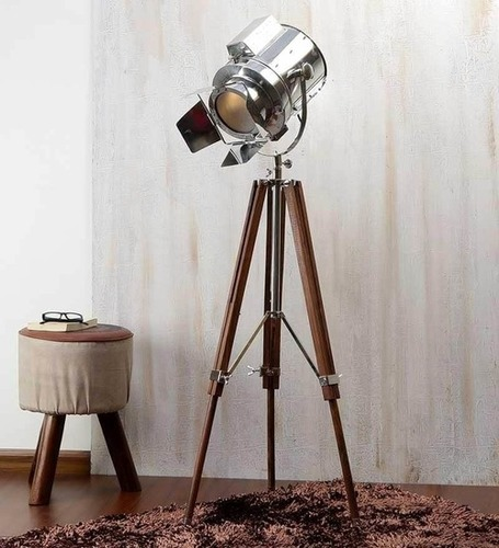 Chrome Spot Searchlight Floor Lamp With Unique Royal Wooden Tripod Home Decoratives