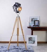 Beautiful Two Tone Floor Lamp With Natural Wood Tripod Home Decoratives