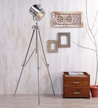Chrome Floor Lamp With Revolving Steel Tripod Lamp