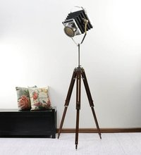 Camera Spotlight Floor lamp With Brown Wooden Tripod Stand
