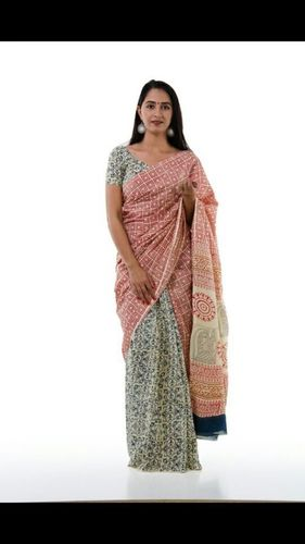 Block Print Sanganeri Cotton Saree